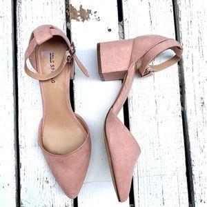 WOMENS Heel Ankle Buckle Block Pointed Toe Sandals